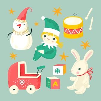 かわいい描かれたクリスマスのおもちゃのコレクション