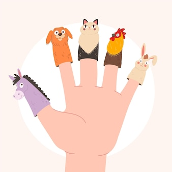 어린이를위한 귀여운 손가락 인형 컬렉션