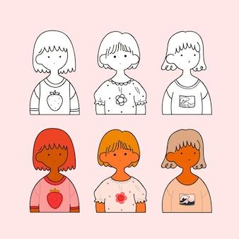 핑크에 고립 된 귀여운 소녀의 컬렉션