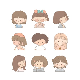 아이와 귀여운 소녀의 컬렉션