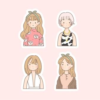 스티커와 함께 귀여운 소녀의 컬렉션