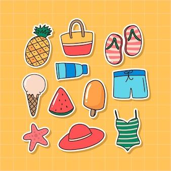 귀여운 손으로 그린 여름 스티커 컬렉션