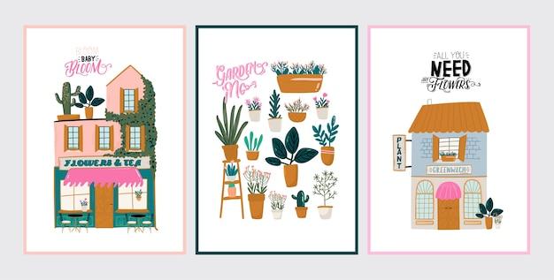 かわいい家、ショップ、ストア、カフェ、白い背景で隔離のレストランのコレクション。やる気を起こさせる引用レタリング。トレンディなスカンジナビアスタイルのフラットの図。手で書いた。ヨーロッパの都市