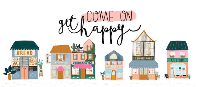 白い背景の上のかわいい家、店、店、カフェ、レストランのコレクション。トレンディなスカンジナビアスタイルのイラスト。ヨーロッパの都市