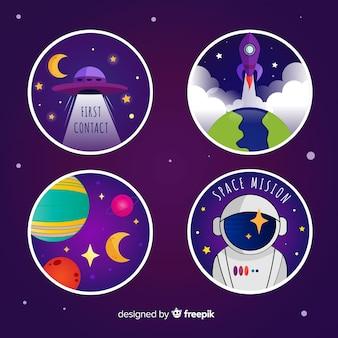 Коллекция симпатичных иллюстрированных космических стикеров