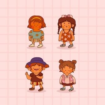 ピンクで隔離のかわいい子供たちのコレクション