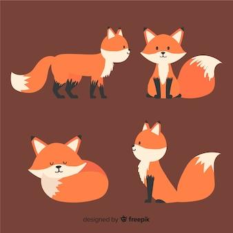 Коллекция милых маленьких лис