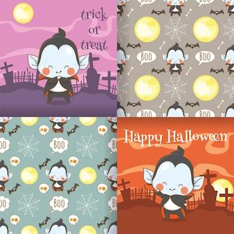 원활한 패턴 세트와 귀여운 작은 뱀파이어 만화 캐릭터 그림의 컬렉션