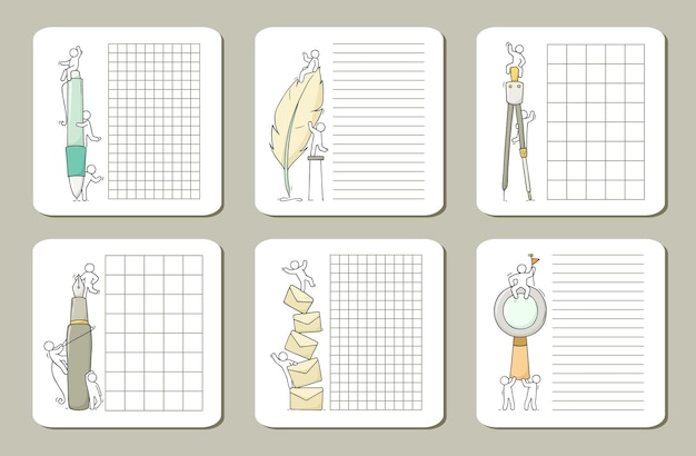 Сборник милых заметок для карточек, наклеек, тегов с людьми.