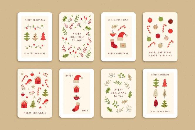 귀여운 유기 크리스마스 카드 컬렉션