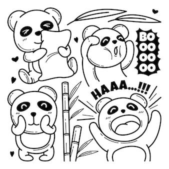 Коллекция мило панда каракули символов иллюстрации