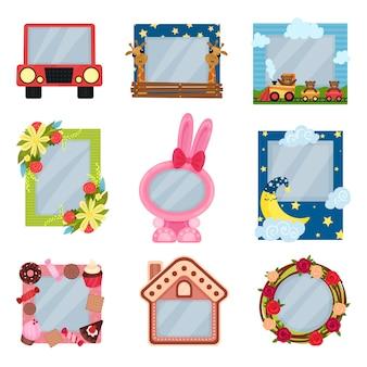 소년과 소녀를위한 귀여운 사진 프레임, 사진 또는 텍스트, 카드, 흰색 배경에 그림 프레임을위한 공간을 가진 아이들을위한 앨범 템플릿의 컬렉션