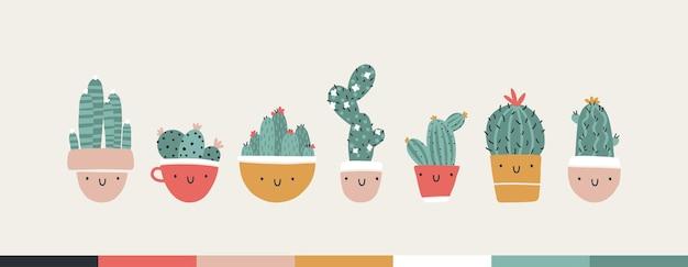 선인장과 다육 식물이 있는 귀여운 냄비 모음입니다. 재미있는 얼굴이 웃고 있습니다. 트렌디한 손으로 그린 스칸디나비아 만화 낙서 스타일. 최소한의 파스텔 팔레트입니다. 아기 직물, 의류에 이상적입니다.