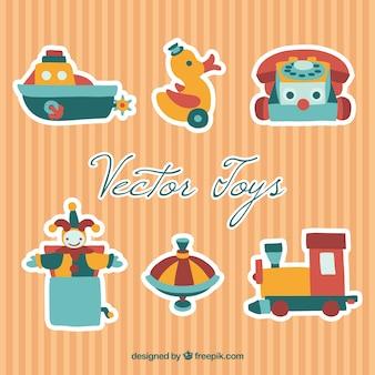 かわいいレトロのおもちゃのコレクション