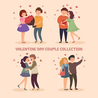 かわいいロマンチックなカップルのキャラクターイラスト集