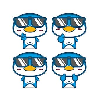 かわいい夏のペンギンセットのコレクションフラット漫画の顔のキャラクターのマスコットのベクトルイラスト