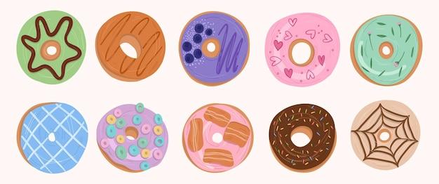 Коллекция милых сладких пончиков рисованной мультфильма