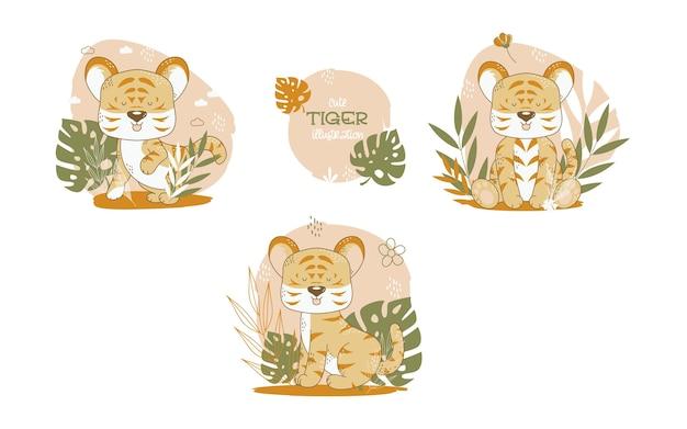 Коллекция милых тигров мультяшных животных. векторная иллюстрация.