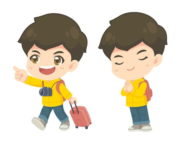 Коллекция симпатичного туристического мальчика во многих позах