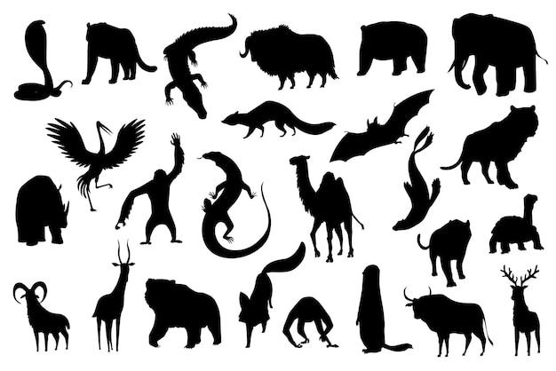 かわいいベクター動物のコレクション。アジアで一般的な手描きのシルエットの動物。白い背景で隔離のアイコンセット。