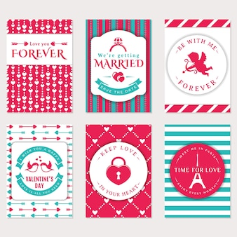 귀여운 벡터 배너의 컬렉션입니다. 로맨틱 전단지, 발렌타인 데이 인사말 카드, 청첩장.