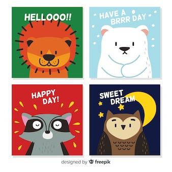 귀여운 야생 동물 카드 컬렉션