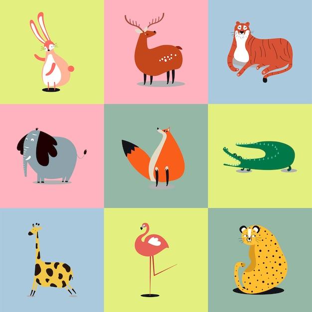 かわいい野生動物のイラストのコレクション
