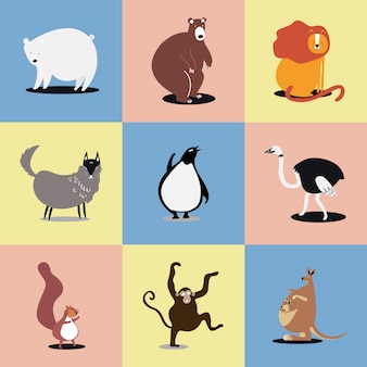 Коллекция иллюстраций милых диких животных