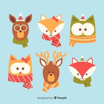 Коллекция симпатичных зимних животных