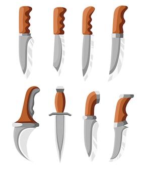 短剣のコレクション。タクティカルナイフとホームナイフ。ステンレス鋼および木のハンドル。白い背景の上の図