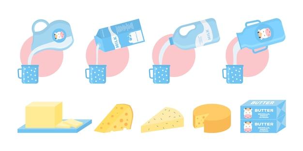 牛乳、バター、チーズ、ヨーグルト、カッテージチーズ、アイスクリーム、クリームなどの乳製品のコレクション。グラフィック、ウェブデザイン、ロゴのフラットスタイルの牛乳や乳製品のアイコン。 。