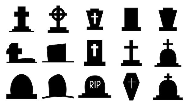 삭제 표시의 어두운 실루엣의 컬렉션입니다. 무덤의 아이콘, 십자가가 있는 기념물. 십자가와 묘비가 있는 무덤. 죽음과 매장 상징. 벡터 일러스트 레이 션입니다.