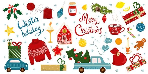 Коллекция элементов декора с буквами с рождеством и новым годом