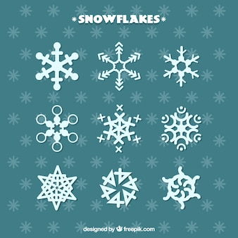 Collection of decorative abstract snowflakes