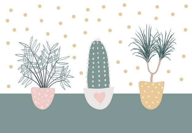 장식 실내 식물의 컬렉션입니다. 아름다운 자연 가정 장식 세트.