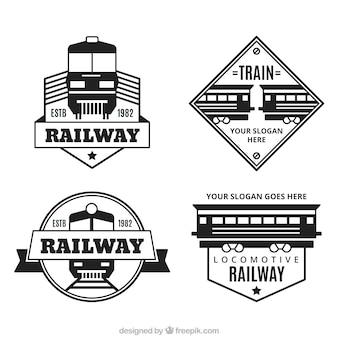Коллекция декоративных логотипов с поездами в плоском дизайне