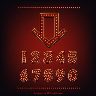 劇場の看板のための装飾的な数字と矢印のコレクション