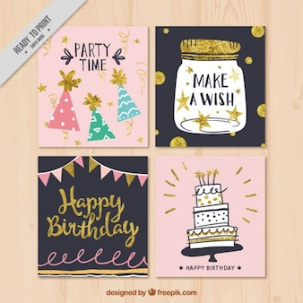 Collection of decorative retro birthday card