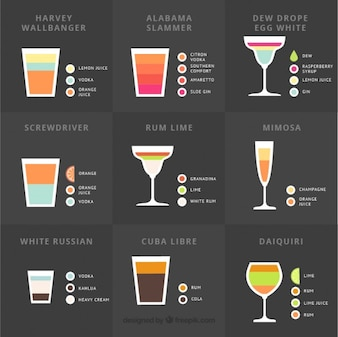 Collection of delicious summer cocktail