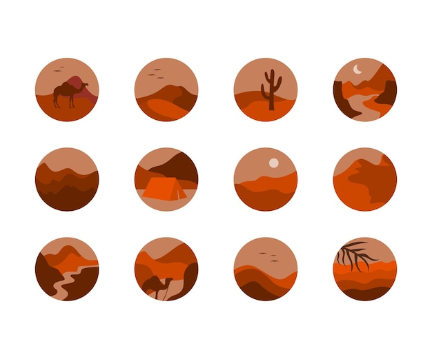 Instagram 하이라이트 커버에 대한 사막 아이콘 모음