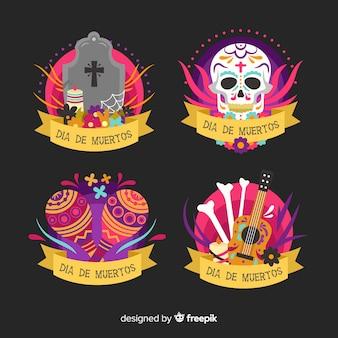 Коллекция dia de muertos этикетки в плоском дизайне