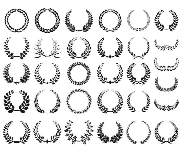 さまざまな黒と白の月桂樹の花輪のコレクション