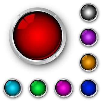Collection of different colored glossy metallic icons