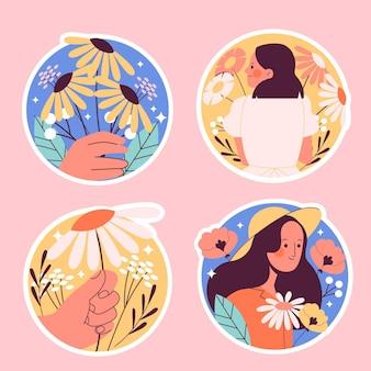 Коллекция различных милых наклеек природы