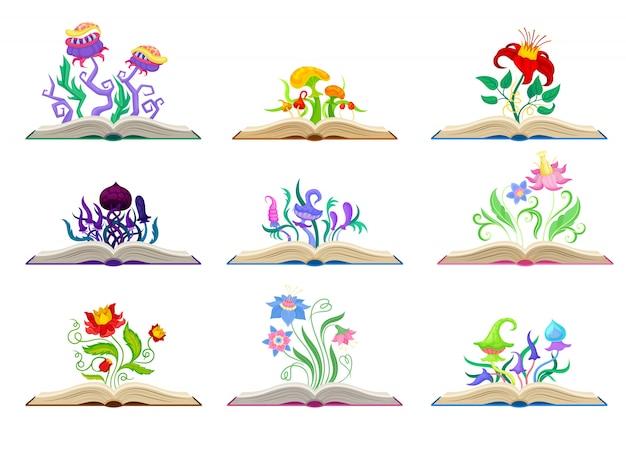 さまざまな素晴らしいキノコと花のコレクション。白い背景のイラスト。