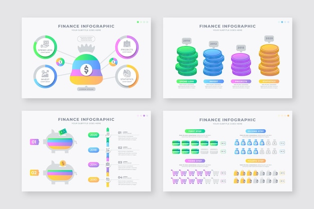 さまざまな金融インフォグラフィックのコレクション