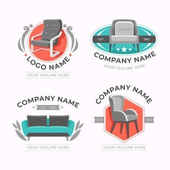 さまざまな家具のロゴのコレクション