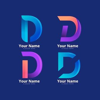 さまざまなグラデーションdロゴのコレクション