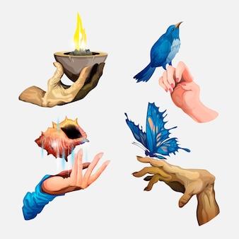 さまざまな手のコレクション。大きな青い蝶、ヘビ、一杯の火、貝殻、青い鳥と腕のセット。分離されたベクトル図。あなたのデザインのステッカー、シンボル、アイコン。白色の背景。