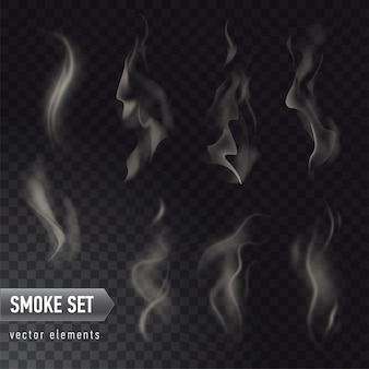 Коллекция различных реалистичных высоких подробных дымов от горячей еды или напитков, изолированных на прозрачном фоне